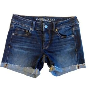 American Eagle Dark Wash Midi Shorts- Size 4